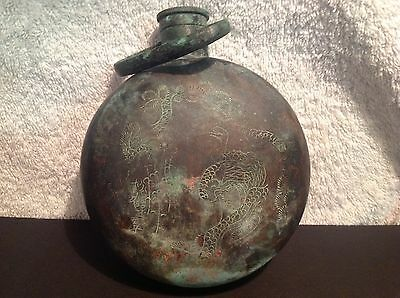 Antique rare Chinese bronze canteen-hand warmer very old and signed