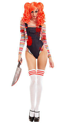 Sexy Party King Killer Doll Chucky Bloody Bodysuit Costume PK762
