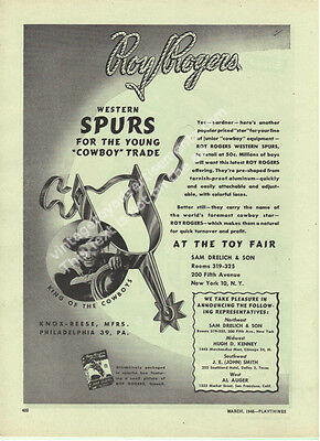 1948 Roy Rogers Western Spurs King of The Cowboys By Knox Reese Toy Ad