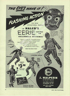 1953 Halco's EERIE Electric Eye Monster Man From Mars Space Man Costumes toy Ad