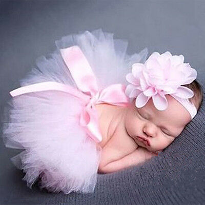 1x Newborn Baby Crochet Knit Tutu Skirt Costume Photography Photo Prop Outfits