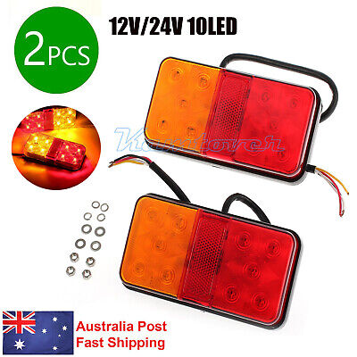 2x 10LED Car Tail Lights Lamps Indicator Rear Parts for Trailer Truck 12V AU