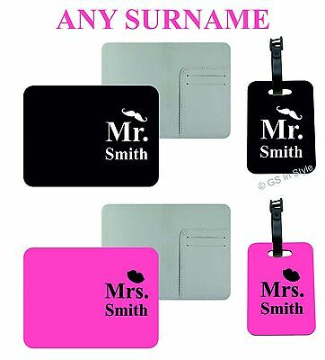 Personalised Mr & Mrs Passport Holders & Matching Luggage Tags Covers Gift Set