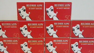 REDHEADS 10 Match Boxes with Matches Made in Sweden 500 safety Matches New