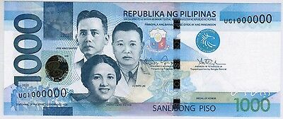 Rare 2013 Philippines 1000 Peso Block Solid Serial Number 1 Million 1000000 Unc