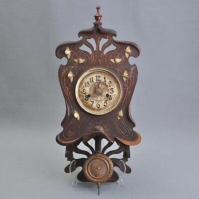 Very decorative Art nouveau Wood Wall clock/Cantilever,blumenmuster,beautiful