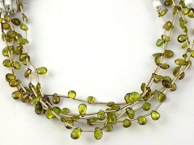 "1 Strand Natural Chrysoberyl Gemstone Pear 4x5-5x7mm Briolette Beads 8"" Long"
