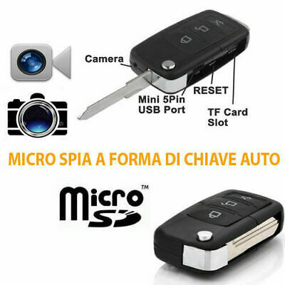 Mini Micro Telecamera Video Camera Spia Spy Telecomando Auto Portachiavi