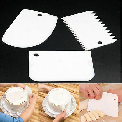 3 X Plastic Cake Scraper Plain Smooth Rounded and Saw Tooth effect Baking