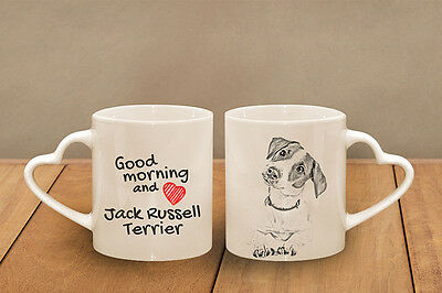 """Jack Russell Terrier - ceramic cup, mug """"Good morning and love, heart"""", CA"""