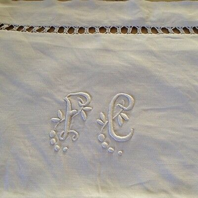 Vintage French Linen Pair of  Pillowcases.