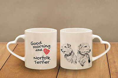 "Norfolk Terrier - ceramic cup, mug ""Good morning and love, heart"", CA"