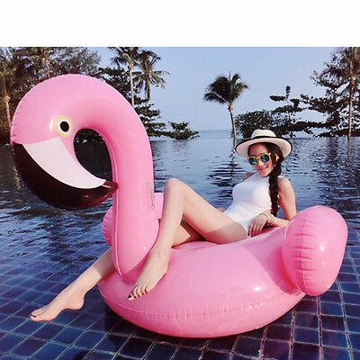Summer Swimming Pool Giant Rideable Flamingo Inflatable Float Toy Adults Kids