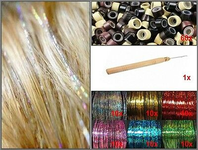 Hair Tinsel Sparkle Set starter kit naald hook micro bead haar glitter strand