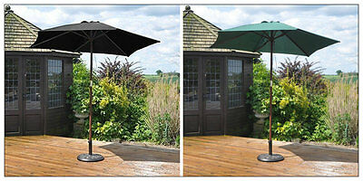 2.4m LARGE MODERN WOODEN GARDEN PATIO PARASOL UMBRELLA FURNITURE SHADE WITH PULL