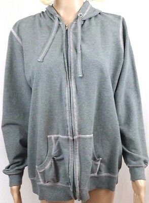 Women's Maternity Hoodie Size XL Motherhood Gray Zip Up Long Sleeve