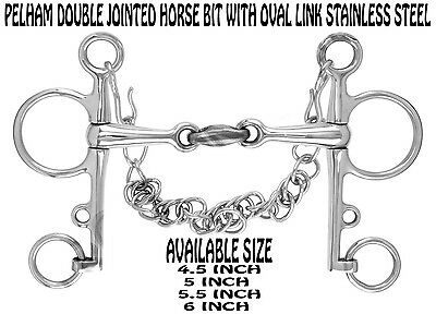 NEW Pelham Double Jointed Horse Bit With Oval Link Stainless Steel