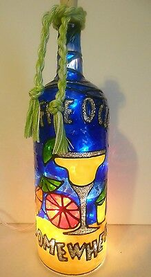 5 o'clock somewhwere Bottle Lamp Stained Glass Look Handpainted Lighted