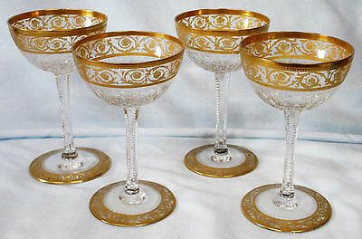 St Louis Crystal Thistle Sherry or Cocktail Goblet 4 5/8 tall Set of 4