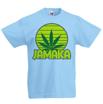 Jamaica Kid's T-Shirt Country Flag Map Top Children Boys Girls Unisex Weed