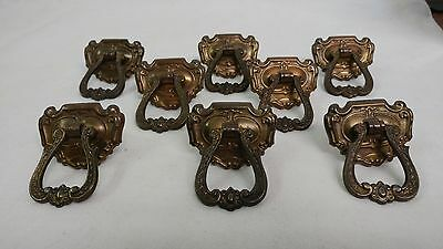 "8 Fancy Antique Single Bore Drawer Pulls measure approximately 2"" x 2 1/4"""