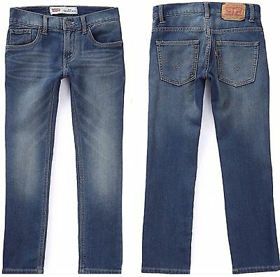 New LEVI'S 511 Knit Jeans Boys 12 14 18 Slim Stretch Faded Blue Denim Pants $48