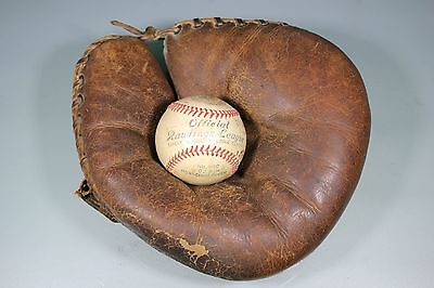 Vintage 1940's Rawlings Catcher's Mit Glove & Signed Rawlings Baseball Asheboro