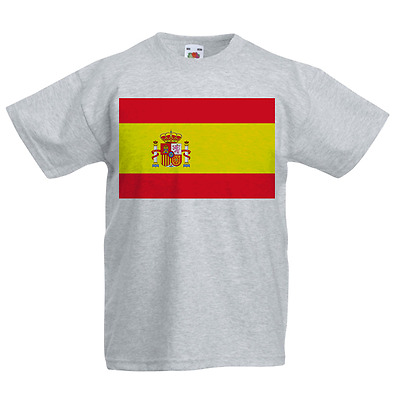 Spain Kid's T-Shirt Country Flag Map Top Children Boys Girls Unisex Spanish