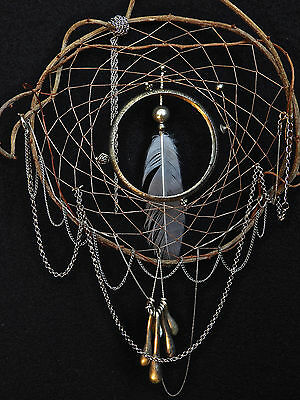 Dreamcatcher #1214 Silvertone Chains w/White Feather- Native American Tribal