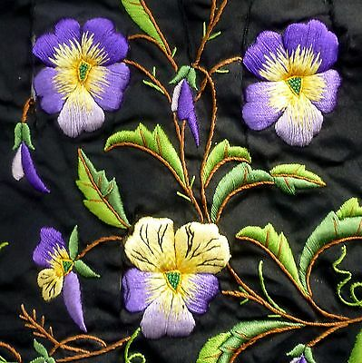 Embroidered Pansies From an 1880/90's Designer Dress