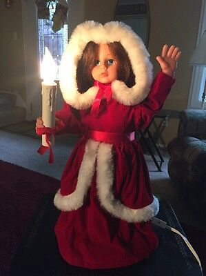 Vintage Rennoc Animated Christmas Caroler Doll Girl w/ Candle (RARE) With Box