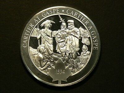 Jacques Cartier At Gaspe 1534, Sterling Silver Medal, 40.65g, 45mm #G5497