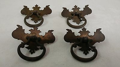 "4 Small Chippendale Drawer Pulls Hardware single bore approx. 2 1/2"" x 2 1/8"""