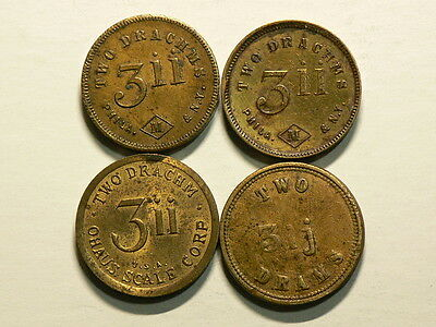 Lot of 4 Apothecaries Weight Token, Two Drachms, Ohauss Scale #G5526