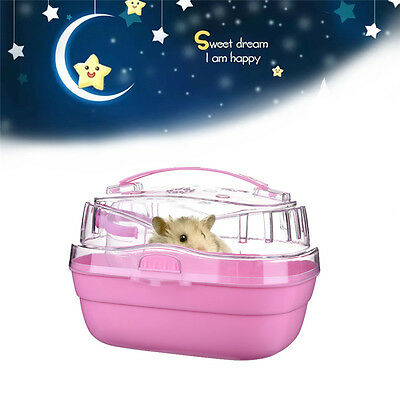 Portable Travel Box Carry Cage Case House W/Water Bottle To Pet Hamster Mice Rat