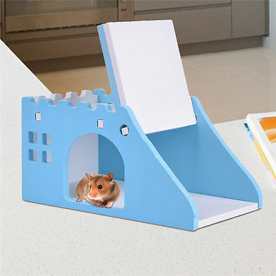 Wooden Hamster Rat Viewing Deck Beds House Cage W/ Ladder Small Pet Climbing Toy