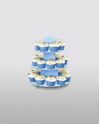 Cupcake Stand Baby Shower Birthday Party 3 Tier Reusable Display Blue Polka Dot