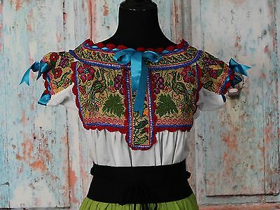 Peacocks Hand Embroidered Juquila Blouse Oaxaca Mexican Feminine Romantic Fiesta