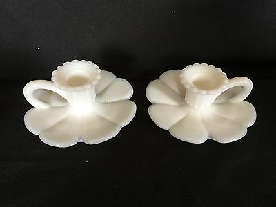 VINTAGE MILK GLASS Flower FINGER CANDLE HOLDERS PR