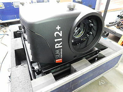 Barco SLM R12+ DLP Projector Low Hours W/ Lens, Spare Bulb, Clamps, and Case