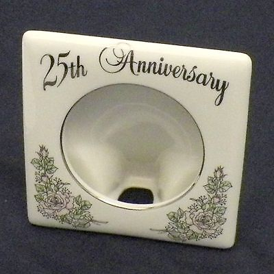 Vintage RARE Porcelain 25th Anniversary Picture Frame Silver Trim 1983 ENESCO
