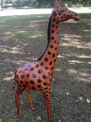 "Large Giraffe 59"" Tall Leather Covered/ Wrapped African Giraffe Figure/Statue"