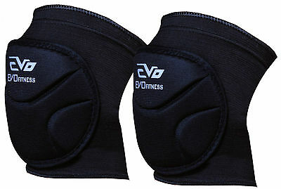 Evo Fitness Knee Pads Elasticated Support MMA knee Guard Volleyball Cycling Pair