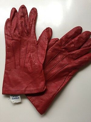 Fownes Women's Red Leather Acrylic Lined Winter Gloves 7