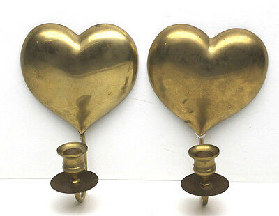 Two Vintage 1986 Brass Heart Shaped Wall Sconces Candle Holders Matched Pair