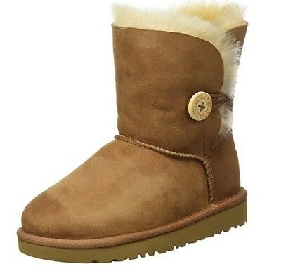 New UGG 5991Y-CHE Bailey Button Chestnut Brown Girls Kids Boots Size 5 K US