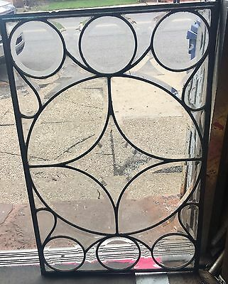 Rare Geometric Circular Leaded Glass Window Turn Of Century Heavy Beveled Rare