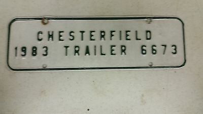 1983 VIRGINIA Chesterfield Trailer Booster Plate License Plate 6673