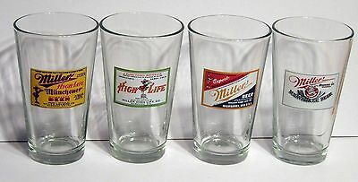 MILLER HIGH LIFE RETRO PINT BEER GLASSES RARE COLLECTIBLES, Set of 4 (BUY ALL)
