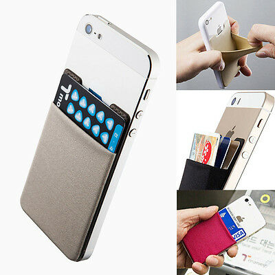 Universal Lycra Cell Phone Wallet Case Credit Card Holder Stick On 3M Adhesive